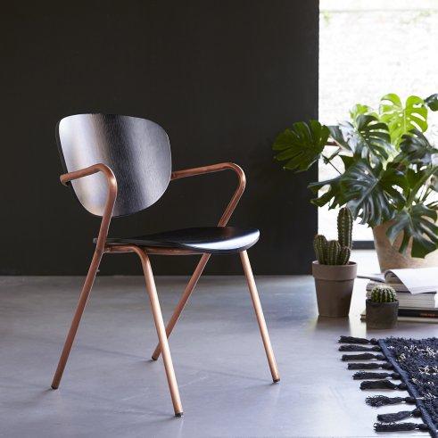 Ada Metal and Oak Chair Copper