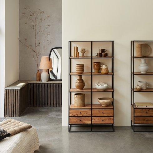 Agra Acacia and Metal Bookcase 175