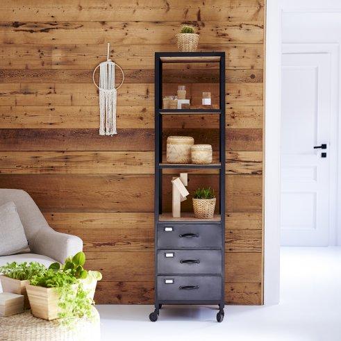 Armario alto en metal y madera oscura de mango 170 Industriel
