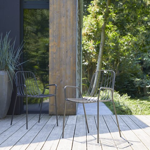 Arty Metal Garden Armchair Dark Grey