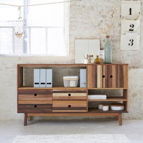 Bücherregal aus recyceltem Holz 180 Brooklyn
