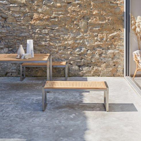 Banc de jardin en teck et inox Arno