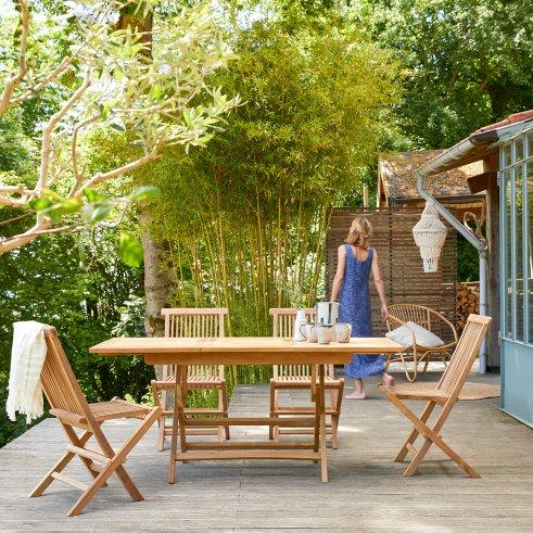 Capri Foldable Teak garden lounge and 4 Chairs Set 120