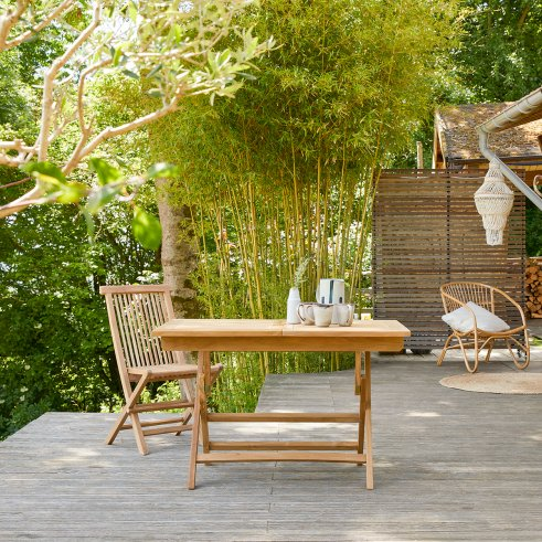Capri Foldable Teak Garden Table 120