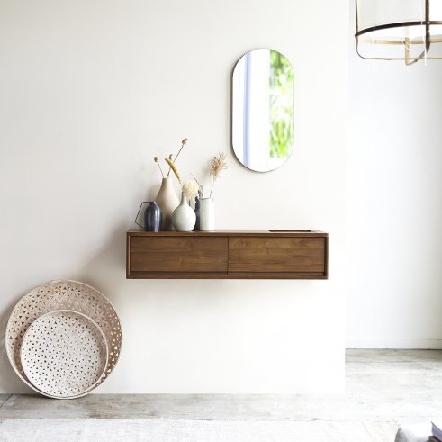 Circa 2-Drawer Wall-Mounted Teak Console 110