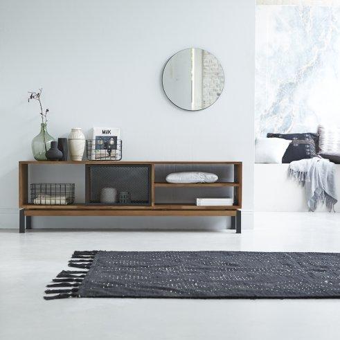 Color Bebop black teak and metal TV unit 170