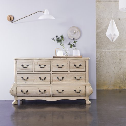 Commode en pin 8 tiroirs Eugenie