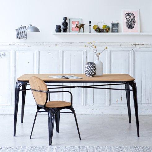Esstisch aus Metall und Weidenholz 170x90 Sam schwarz