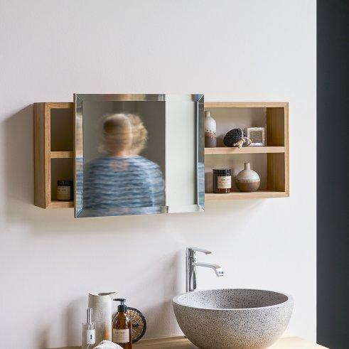 Etagère miroir en teck Typo