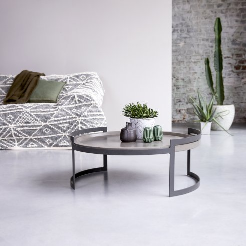 Etnisi 80 coffee table in metal and blue stone