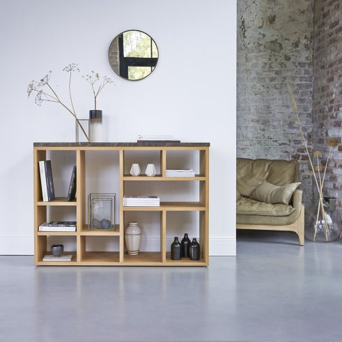Eyota Oak and marble Console 131