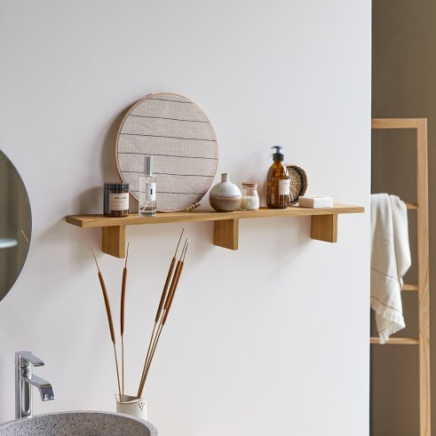 Horizontal Teck Bahya Teak Bathroom Shelf