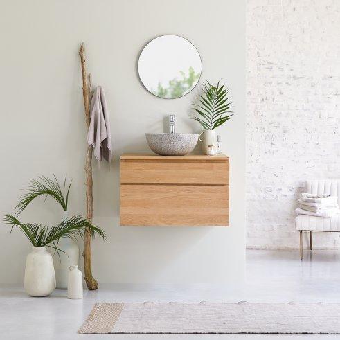 Jacob oak wall-mounted vanity unit 80