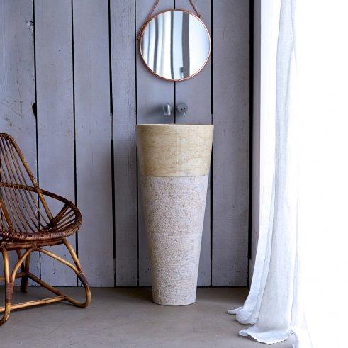 Koni Cream Marble Pedestal Washbasin