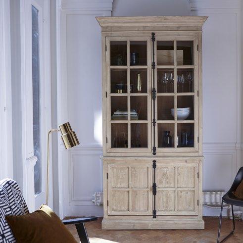 Libreria con vetrina in Pino riciclato 120x230 Esther