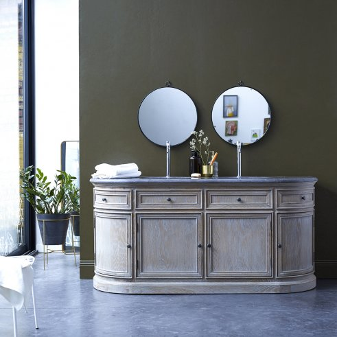 Louise Oak and stone Vanity Cabinet 180