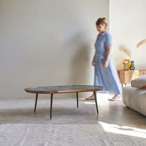 Mesa baja en palisandro y mármol 120 x 60 Jade