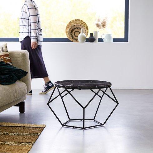 Mesa baja redonda en mármol y metal