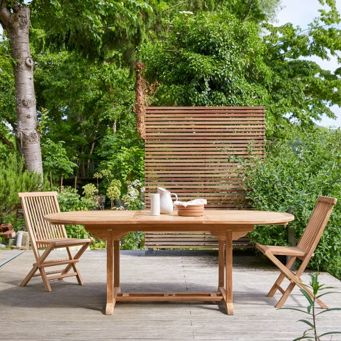 Mesa de jardín ovalada en teca 160 Capri