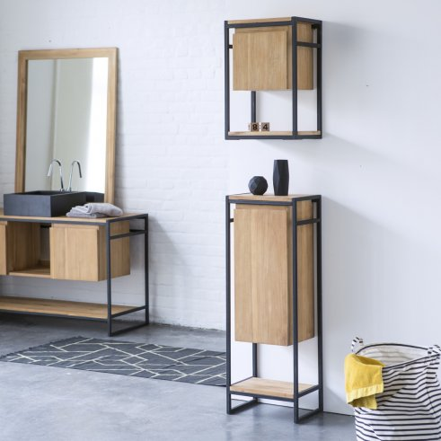 Metal and Teak Bathroom Storage Set Michal 170