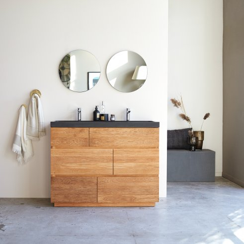 Meuble Salle de bain en chêne et pierre de lave 120 Karl