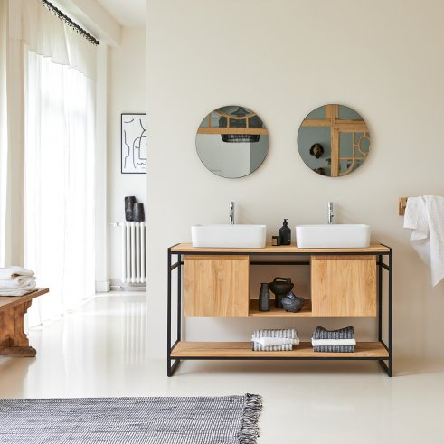 Meuble Salle de bain en métal et teck 140 Michal