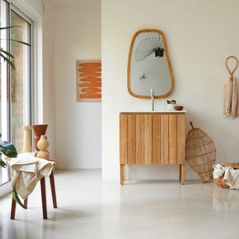 Meuble Salle de bain en teck et céramique 80 Jill