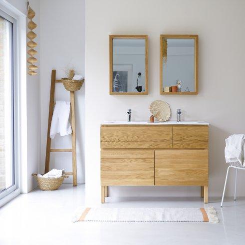 Mobili da bagno in quercia con lavabi in ceramica 120 Easy