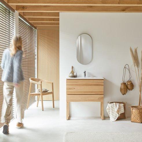 Mueble de baño de teca y cerámica 80 Edgar