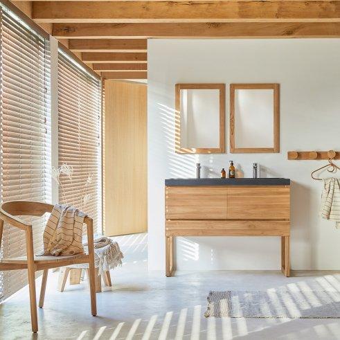 Mueble de baño de teca y piedra de lava 120 Edgar