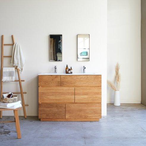 Mueble de baño en madera de Roble con lavabos de cerámica 120 Karl