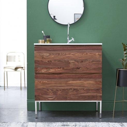 Mueble de baño en palisandro con lavabo de cerámica 80 Nova