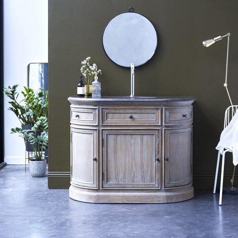 Mueble de baño en roble con lavabo de piedra 110 Louise
