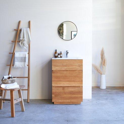 Mueble de baño en roble y cerámica 60 Karl