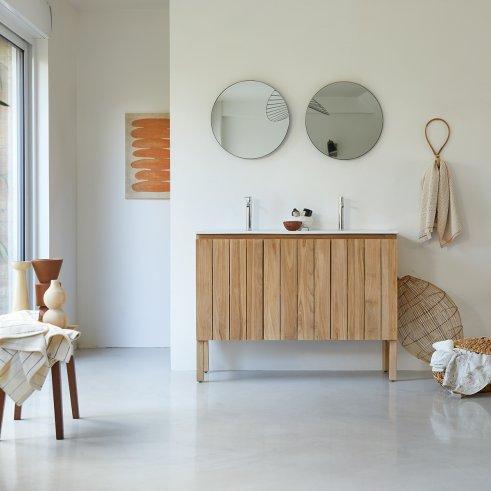 Mueble de baño en teca con lavabo de cerámica 120 Jill