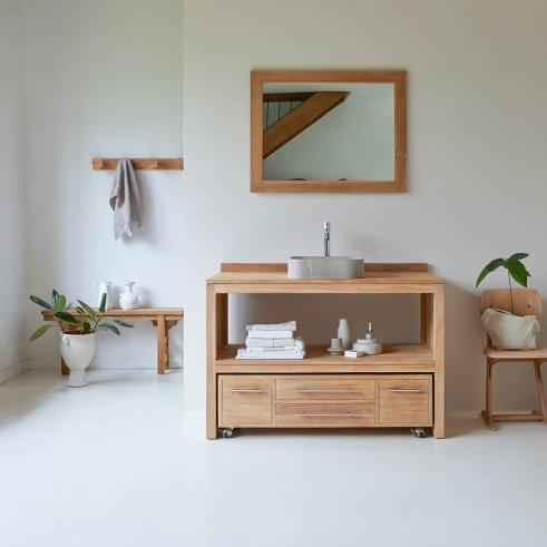 Mueble de lavabo de teca no tratada 120 Layang