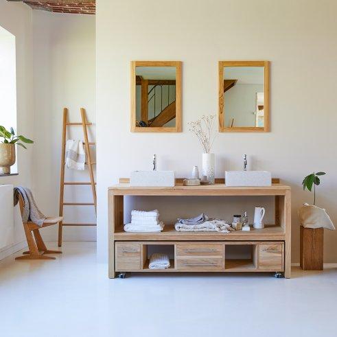 Mueble de lavabo de teca no tratada 160 Layang