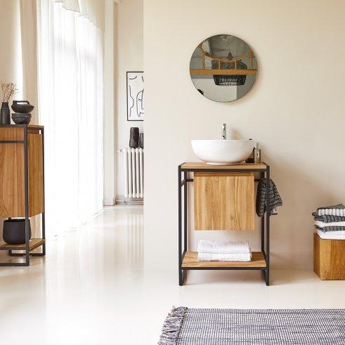 Mueble de lavabo en metal y teca 60 Michal