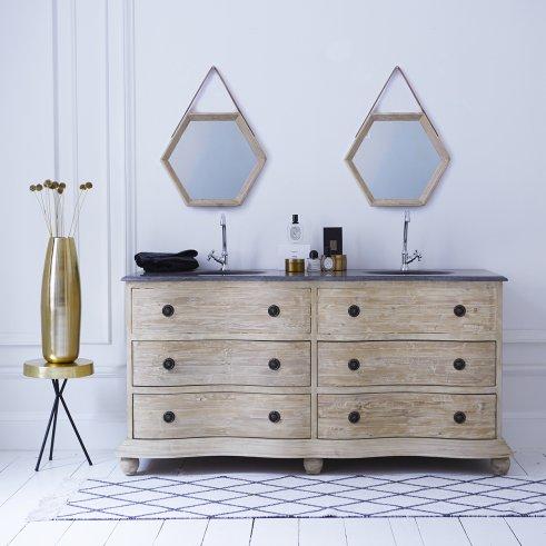 Mueble de pino con lavabos de piedra 170 Hermione