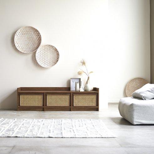 Mueble TV de teca y rejilla de ratán 160 Roots