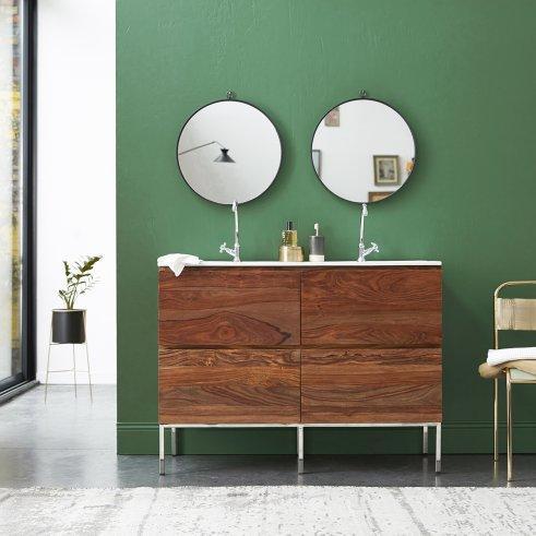 Nova sheesham Vanity Cabinet with Ceramic Washbasin 120