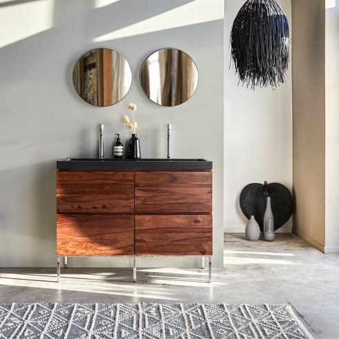 Nova Sheesham Vanity Cabinet with Lava Stone Washbasin 120