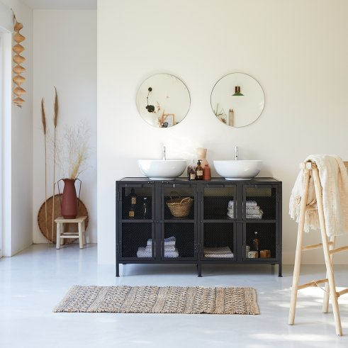 Romy metal and mango wood vanity unit 140