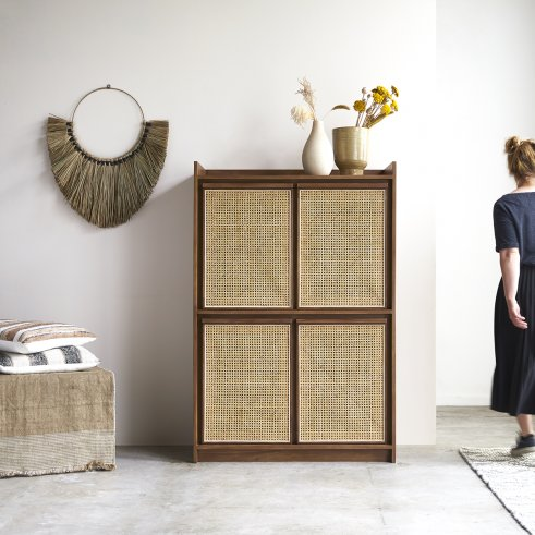 Roots teak and canework wardrobe 150