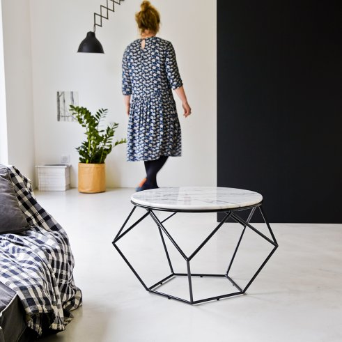 Round White Marble and Metal Coffee Table