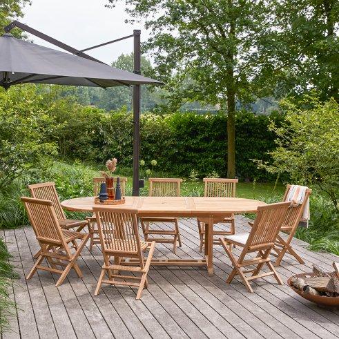 Salon de jardin ovale en teck 180 Capri 8 chaises