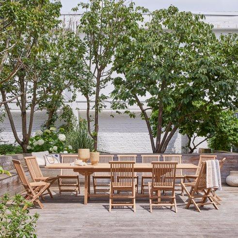 Salon de jardin rectangulaire en teck 200 Capri 12 chaises