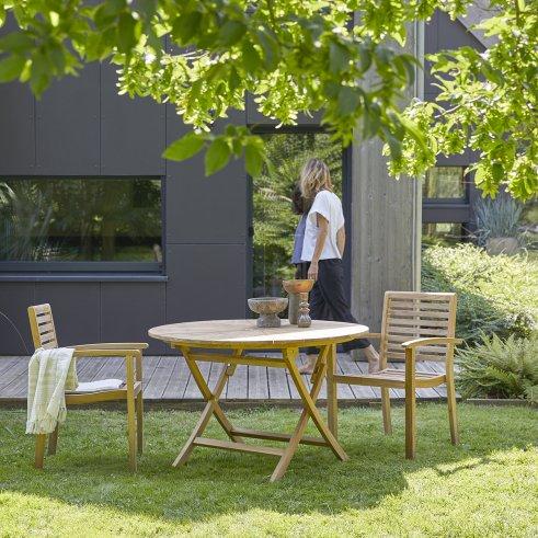 Salon de jardin rond en teck 120 Andria 2 fauteuils