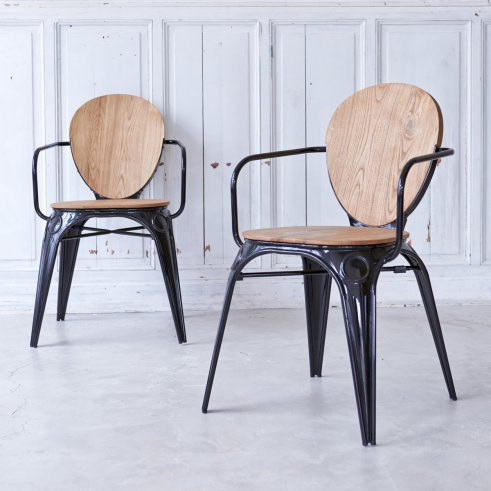 Sam willow and Metal Armchair black