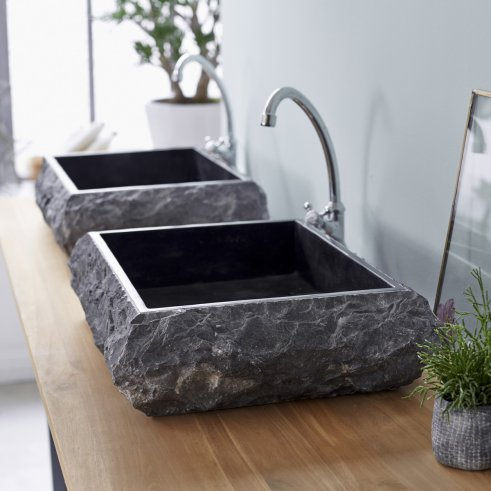 Scrula Slim Black Marble Washbasin 50